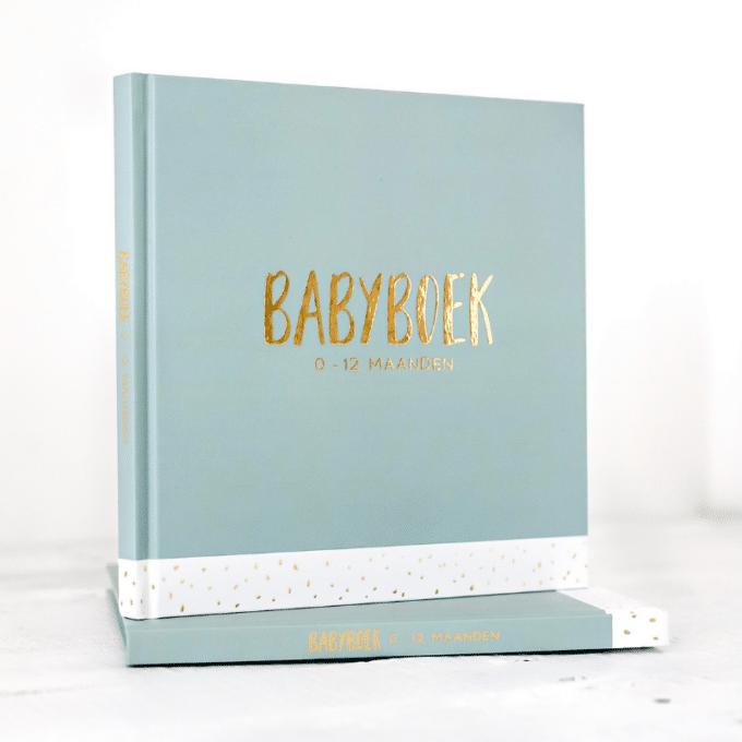Babyboek met goudfolie groen