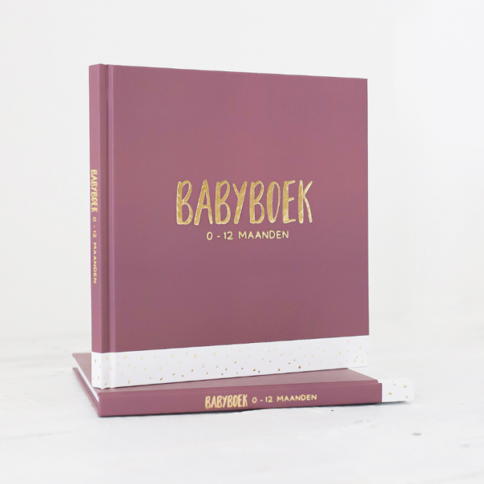 Babyboek met goudfolie blush