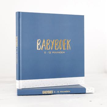 Babyboek met goudfolie blauw