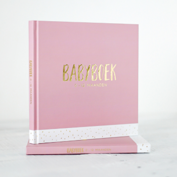 Babyboek met goudfolie roze