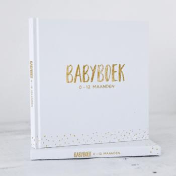 Babyboek met goudfolie wit