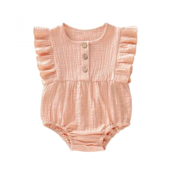 Little indians ruffle romper lexie to the moon muslin soft pink