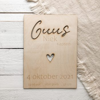 Houten geboortenbord met naam