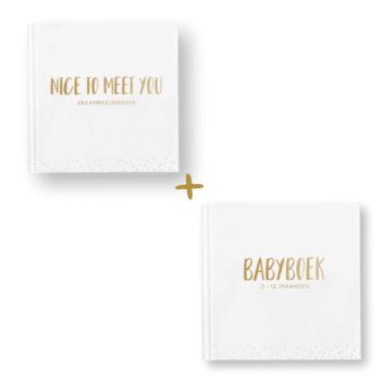 kraambezoekboek en babyboek met goudfolie