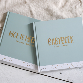 Set kraambezoekboek & babyboek - groen