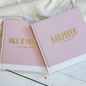 Set kraambezoekboek & babyboek - licht roze