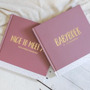 Set kraambezoekboek & babyboek - blush