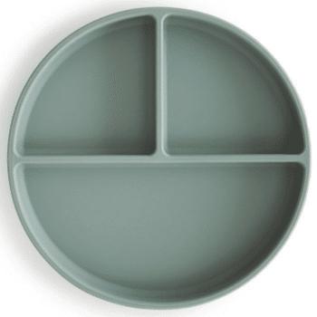 siliconen bord cambridge blue mushie