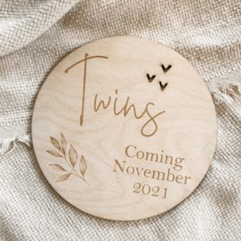 zwangerschapsaankondiging twins coming