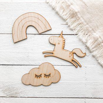 Houten muurdecoratie unicorn
